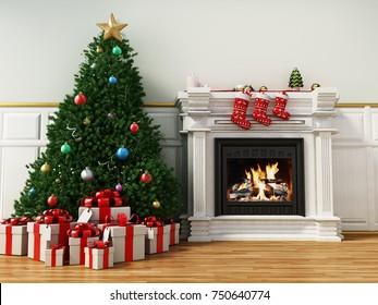 Christmas tree beside burning fireplace. 3D illustration.