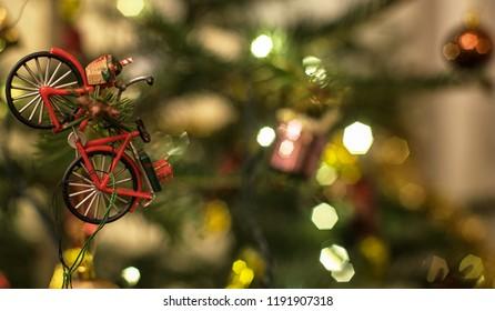 Christmas tree with bike sport decoration