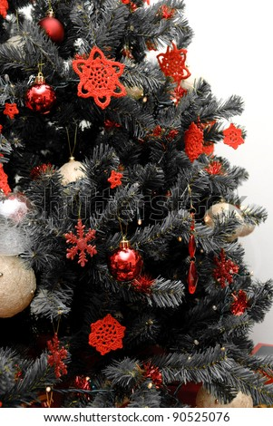 Christmas Tree Black White Red Decorations Stock Photo Edit Now