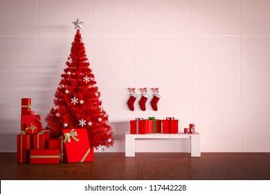 christmas tree and box of present