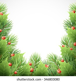 Christmas Tree Branches Border. Illustration