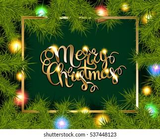 Christmas Tree Branches Border. Raster version