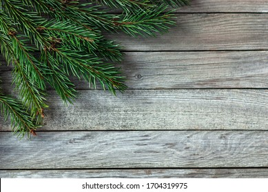 christmas tree branches in the corner of gray wooden background