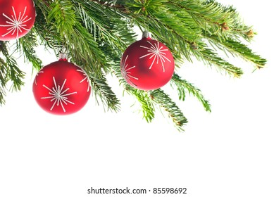 christmas tree; branches of fir with red christmas bauble