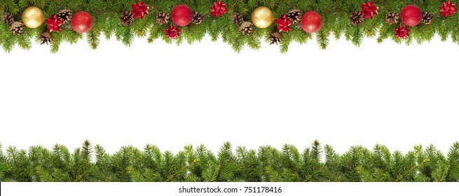Christmas tree branches on white background as a border or template for christmas card