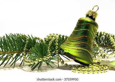 Christmas tree and broken bell isolated on white background