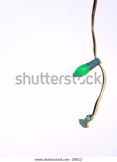 Christmas Tree Bulb - Lights 4 - Single Green Bulb and String
