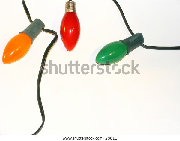 Christmas Tree Bulb - Lights - 5 - Upclose - Orange, Red, Green - Offset on White Backdrop