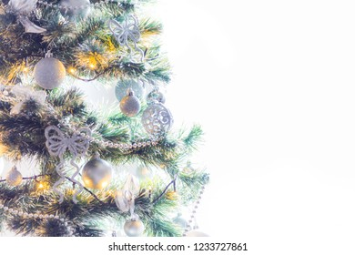 Christmas tree with bulbs  isolated on white background