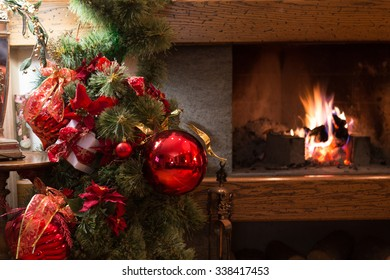 Christmas tree and burning fireplace background