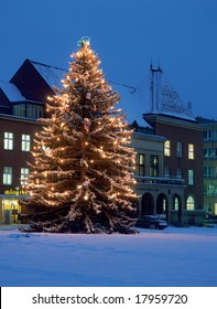 Christmas tree by city hall in Zlin