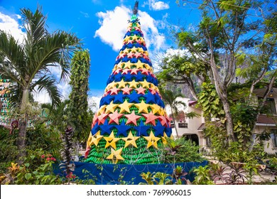Christmas Tree Celebration at central square in el Nido on Palawan island. Philippines.