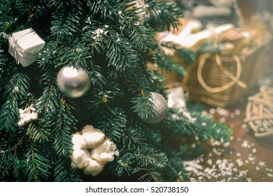 Christmas tree close up. Christmas decoration