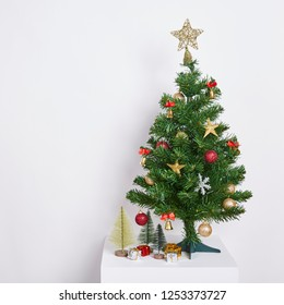Christmas Tree Concept Interior Room with Decoration on White Background.