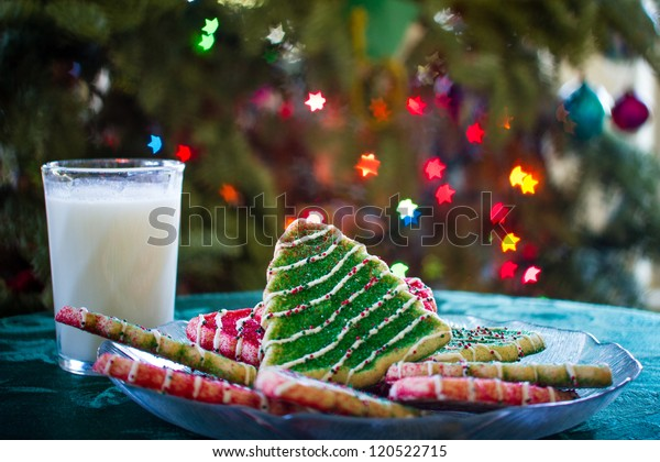 Christmas Tree Cookies and a glass of Milk for Santa