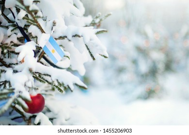 Christmas tree covered with snow and a flag of Argentina. Argentinian flag closeup. Winter background scene outdoor. Holiday greetings card