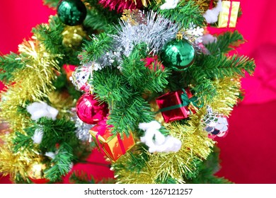 Christmas tree decorated in Christmas