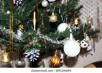 Christmas tree decorated with balls and toys for the Christmas holiday
