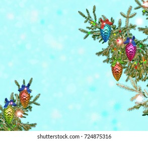 Christmas tree decorated with bright toys. Card.