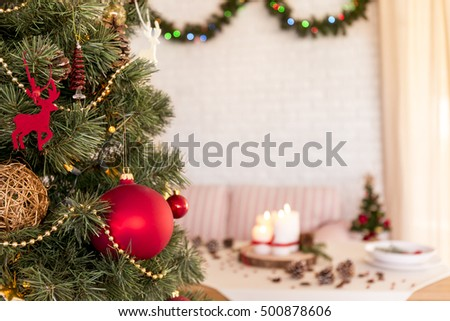 Christmas Tree Decorated Dinner Table Garland Stock Photo Edit Now