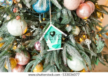 Christmas Tree Decorated Glass Wooden Vintage Stock Photo Edit Now