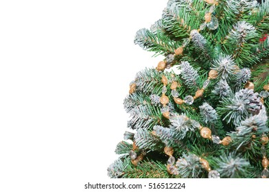 Christmas tree decorated with gold. Isolated on white background