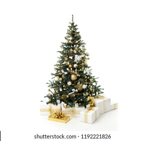 Christmas tree decorated with gold patchwork ornament artificial star hearts presents for new year 2019 isolated on white background