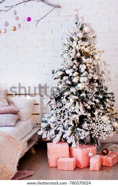 Christmas Tree Decorated Large Wooden Snowflakes Stock Photo Edit