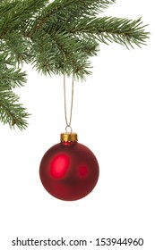 Christmas tree decorated with red bauble for holiday background. With copy space.