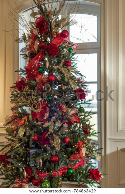 Christmas Tree Decorated Red Gold Ornaments Stock Photo Edit Now