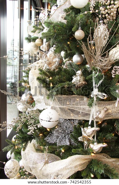 Christmas Tree Decorated White Gold Ornaments Stock Photo Edit Now 742542355