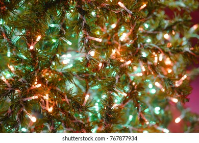 Christmas tree decorating by led light, Selective focus.