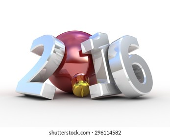 Christmas tree decoration and 2016 text