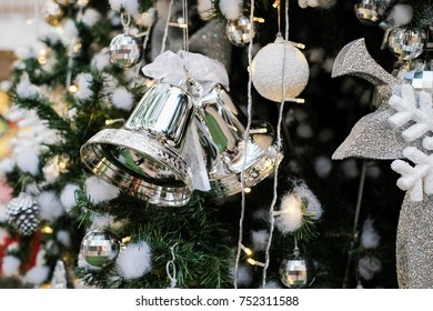 Christmas tree decoration backgrounds / Celebrities Christmas time with Bell , light , shiny , sphere