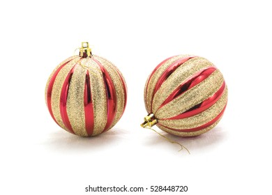 Christmas tree decoration: baubles, ribbons isolated on white background