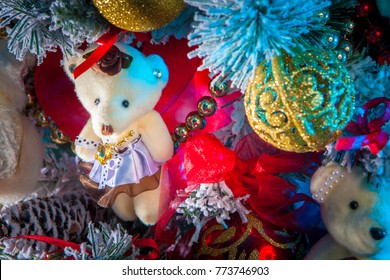 Christmas tree decoration. Christmas decorations. Bear Christmas tree toy.