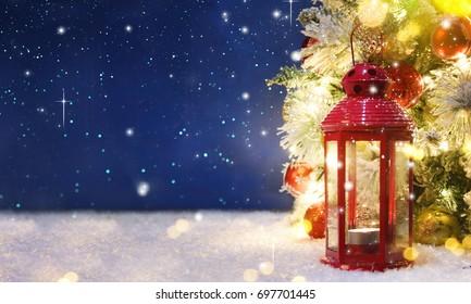Christmas tree with decoration and lighting