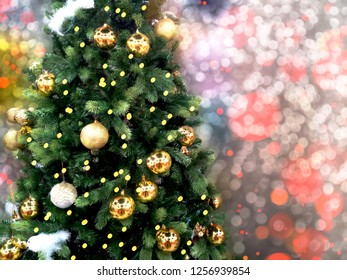 christmas tree and decoration new year lights winter background with garland bokeh