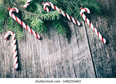 Christmas tree decoration on vintage wooden background. New year holiday banner for 2020. Vintage christmas design frame top view.