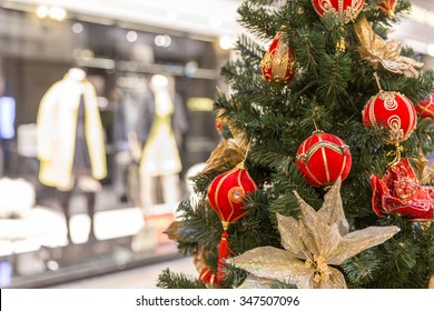 Christmas tree decoration in shopping mall