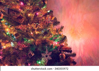 christmas tree decoration with twinkling light and christmas ornament in home