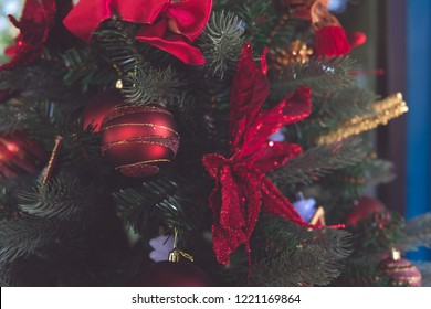 Christmas tree and Christmas decorations back ground and Happy New Year