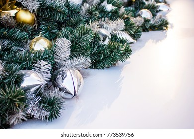 Christmas tree and Christmas decorations background.