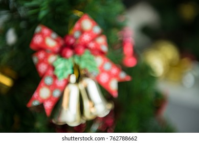 Christmas tree and Christmas decorations blur background