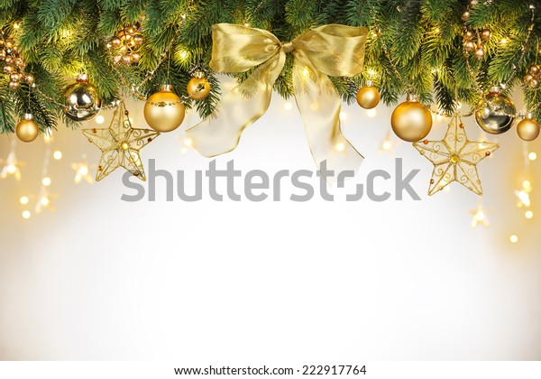 Christmas tree decorations with copy space