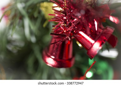 Christmas tree decorations in detail
