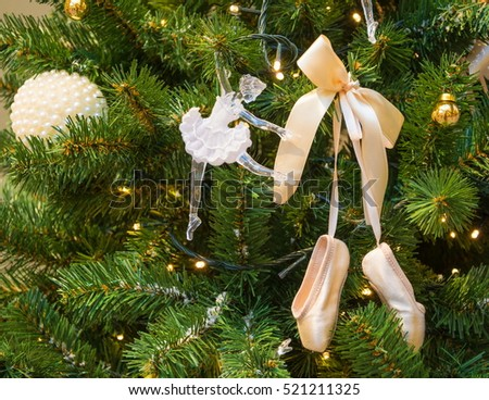 Christmas tree with decorations - with doll-ballerina and ballet slippers - Christmas Tree Decorations Dollballerina Ballet Slippers Stock Photo