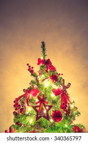 Christmas tree and decorations ( Filtered image processed vintage effect. )
