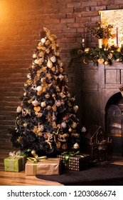 Christmas tree with decorations and gifts. Beautiful holdiay decorated room