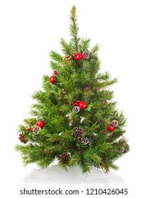 Christmas tree with decorations isolated on white background.